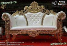 Elegant White & Gold Stage Love-Seater