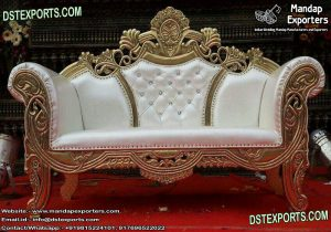 Elegant White & Gold Stage Love-Seater