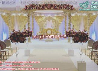 Grand Eight Pillars Wooden Wedding Mandap