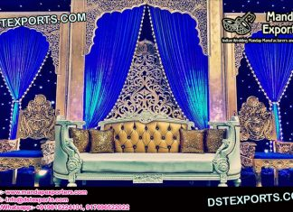 Muslim Walima Stage Golden Sofa