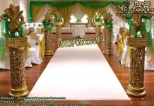 Wedding Golden Fiber Carved Walkway Pillars
