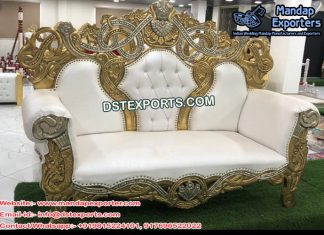 Wedding Golden White Elegant Couple Sofa