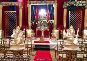 Wedding Graceful Golden Roman Pillars Stage