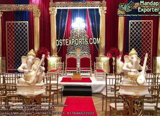 Wedding Graceful Golden Roman Pillars Stage