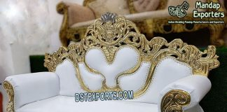 White and Golden Fancy Wedding Couch