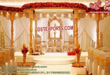 Gujarati Wedding Golden Wood Mandap
