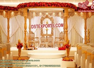 Gujarati Wedding Golden Wood Mandap