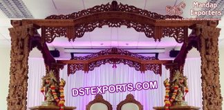 Indian Wedding Ganesha Carving Wooden Mandap