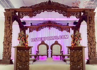 Indian Wedding Ganesha Carving Wooden Mandap
