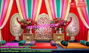 Mehndi Event Stage & Colorful Curtains