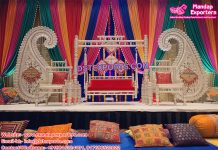 Indian Wedding Mehndi Stage Paisley Decor