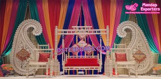 Indian Wedding Mehndi Stage Paisley Decor
