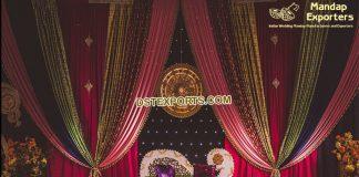 Mehandi Stage Colorful Zari Work Backdrop