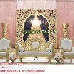 Muslim Walima Golden Back-Frame Stage