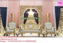 Muslim Walima Golden Back-Frame Stage