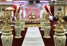 Wedding Walkways Pillars With Dancing Ganesha