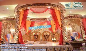 Hindu Wedding Spiral Gold Carved Mandap