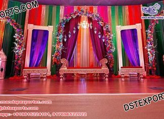 Moroccan Mehndi Stage With Backless Sofa