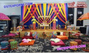 Traditional Punjabi Mehndi Stage Set up