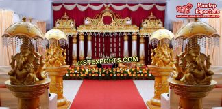 Srilankan Wedding Manavaria Golden Mandap/Stage