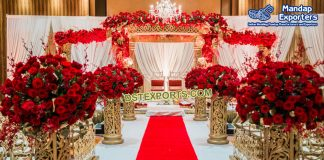 Hindu Wedding Golden Fiber Mandap New York