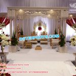 Stylish Hindu Wedding Triple Pillar Mandap