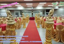 Golden Fiber Walkway Pillars With Ganesha