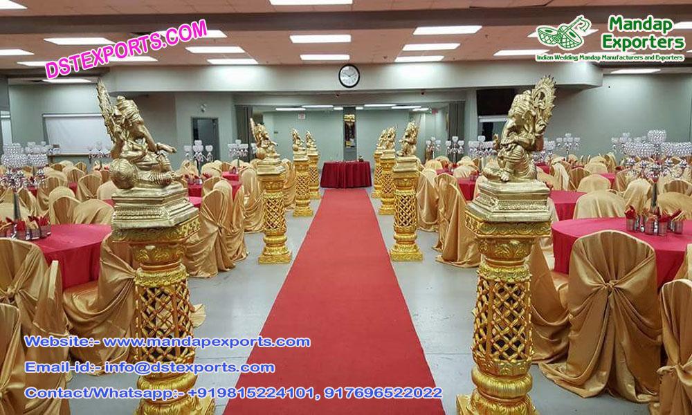 Golden Fiber Walkway Pillars With Ganesha