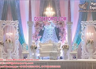 Majestic White Theme Wedding Stage Décor