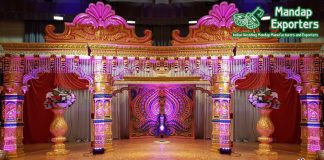 Srilankan Peacock Theme Wedding Mandap Stage