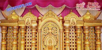 Traditional Wedding Golden Manavari Stage Srilanka