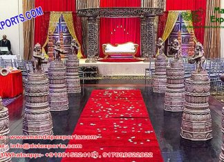 Wedding Aisleway Dev Pillars with Ganesha Statues