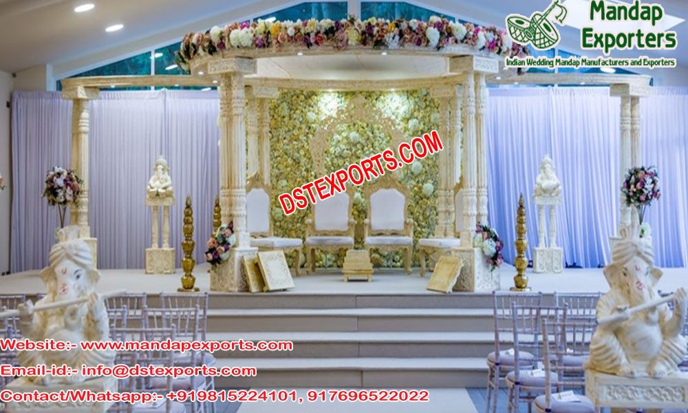 Wedding White Fiber Carved Double Pole Mandap USA