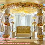 White Fiber Carved Wedding Mandap Switzerland