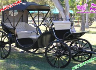 Antique Black French Horse Drawn Carriage
