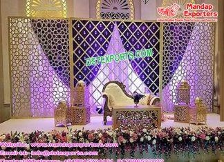 Glamorous Wedding Stage Candle Back Wall