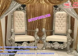 Royal Wedding Wooden Silver Chairs