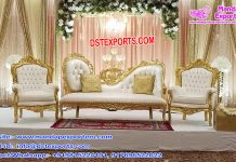 Stylish Wedding White-Gold Sofa Set