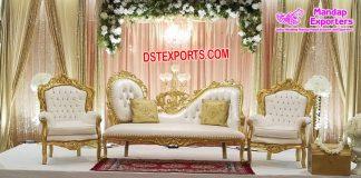 Stylish Wedding White-Gold Sofa Set