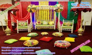 Traditional Muslim Walima Mehndi Stage Decor