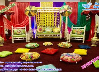 Traditional Muslim Walima Mehndi Stage Decor