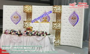 Wedding Stage Leather Panels with Crystal Decoration