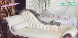 Asian Wedding Silver Chaise Sofa USA