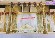 Exclusive Wedding Fiber Carved Golden Mandap