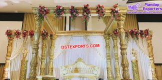 Exclusive Wedding Fiber Carved Golden Mandap