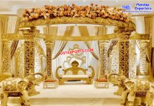 Glamorous Wedding Golden Carved Mandap Germany