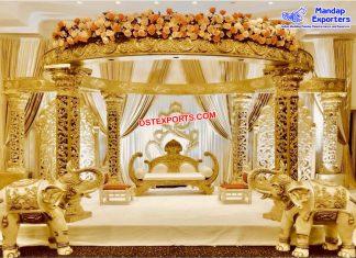 Glamorous Wedding Golden Carved Mandap Germany