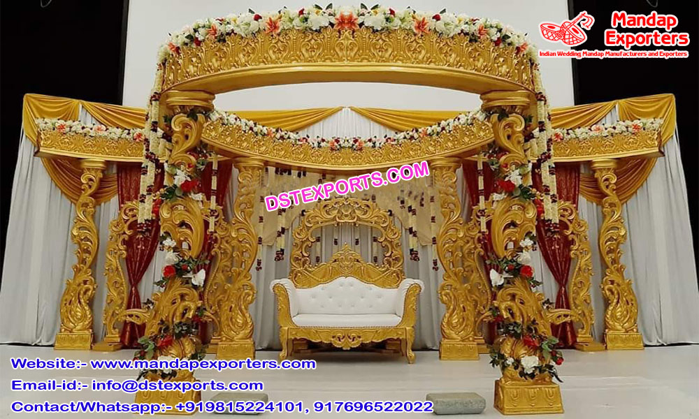 Hindu Wedding Golden Peacock Mandap