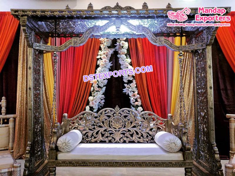 Mehndi Stage Metal Carved Silver Swing