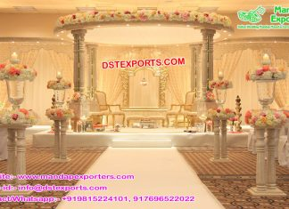 Modern Wedding Wooden Look FRP Mandap